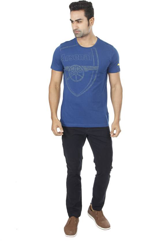 Puma Printed Men's Round Neck Blue T-Shirt