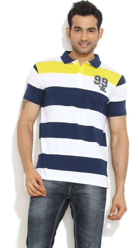 dd441af5 Indigo Nation Street Striped Men's Polo Neck Dark Blue T-Shirt - Buy ...