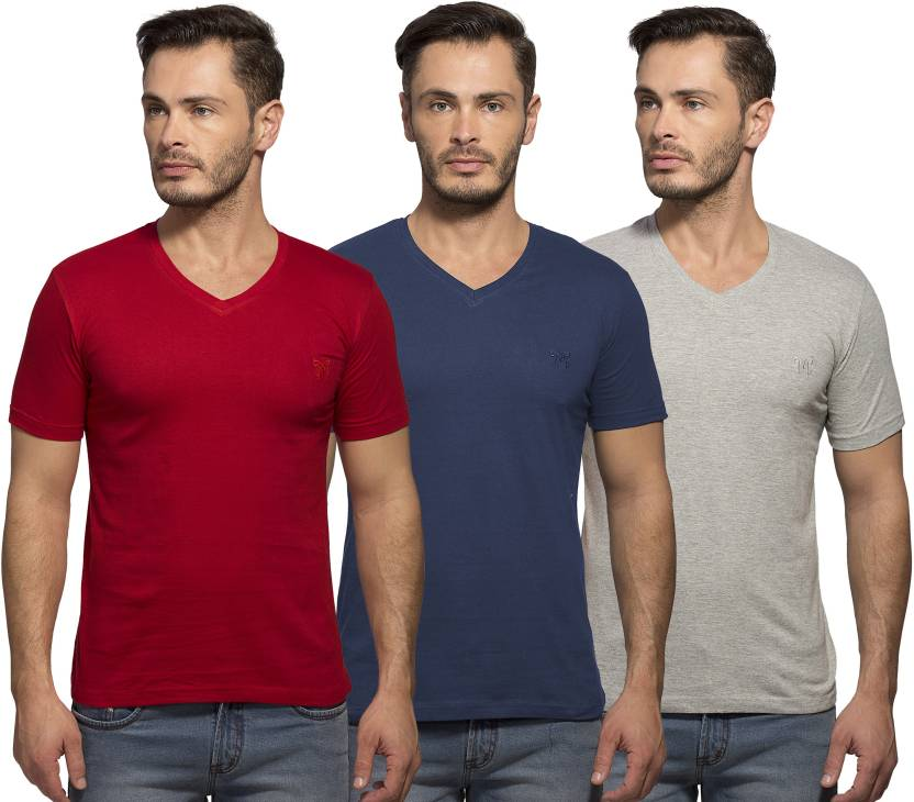 eccd85c8f1 Maniac Solid Men's V-neck Red, Dark Blue, Grey T-Shirt - Buy Red ...