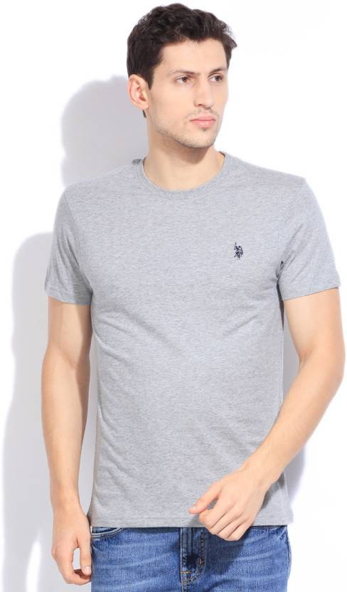 adeb767b8 U.S. Polo Assn Solid Men's Round Neck Grey T-Shirt - Buy GREY MELANGE U.S.  Polo Assn Solid Men's Round Neck Grey T-Shirt Online at Best Prices in India  ...
