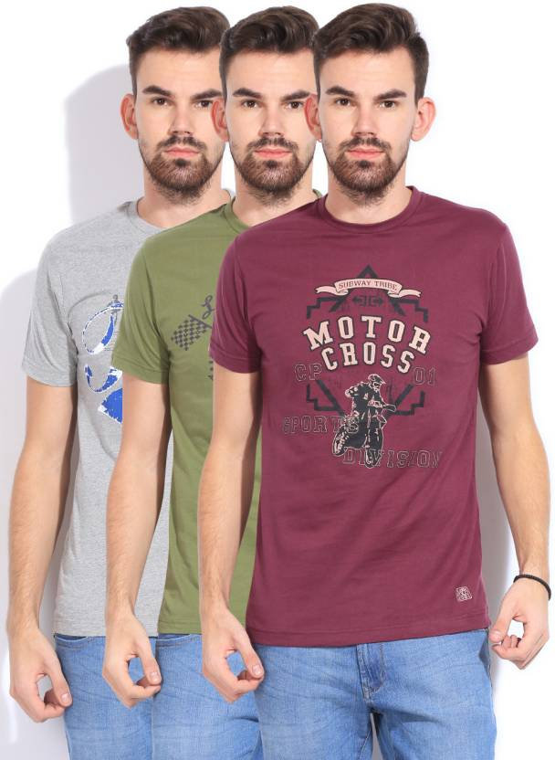 6fa5db8a Classic Polo Printed Men's Round Neck Green, Grey, Purple T-Shirt (Pack of  3)