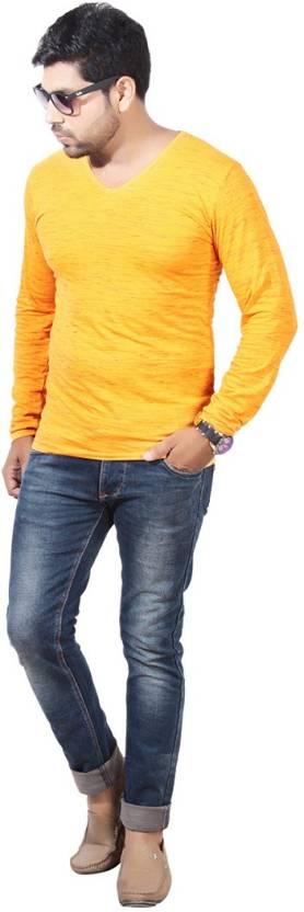 Vinson Solid Mens V Neck Yellow T Shirt Buy Mustard Yellow Vinson