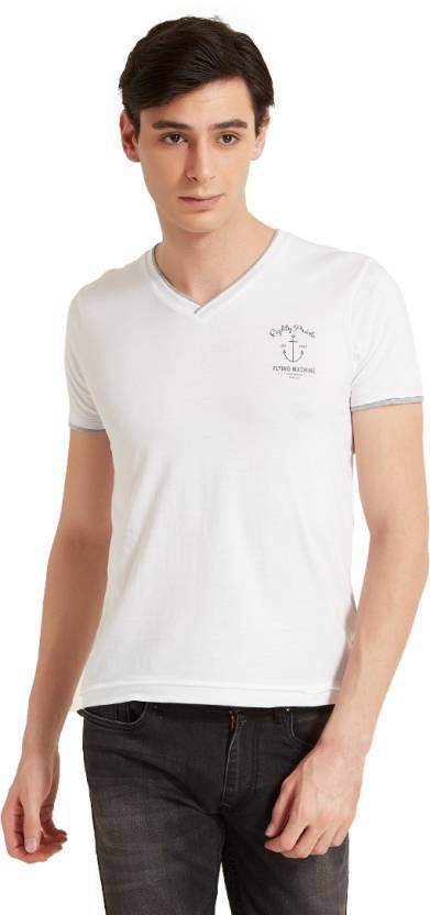 c32489cdbf7 Flying Machine Solid Men s V-neck White T-Shirt - Buy White Flying Machine  Solid Men s V-neck White T-Shirt Online at Best Prices in India
