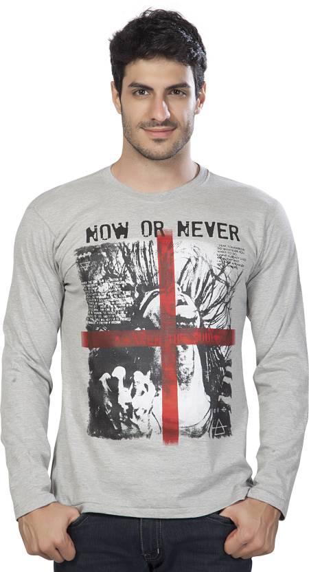 Alan Jones Printed Mens Round Neck Grey T-Shirt