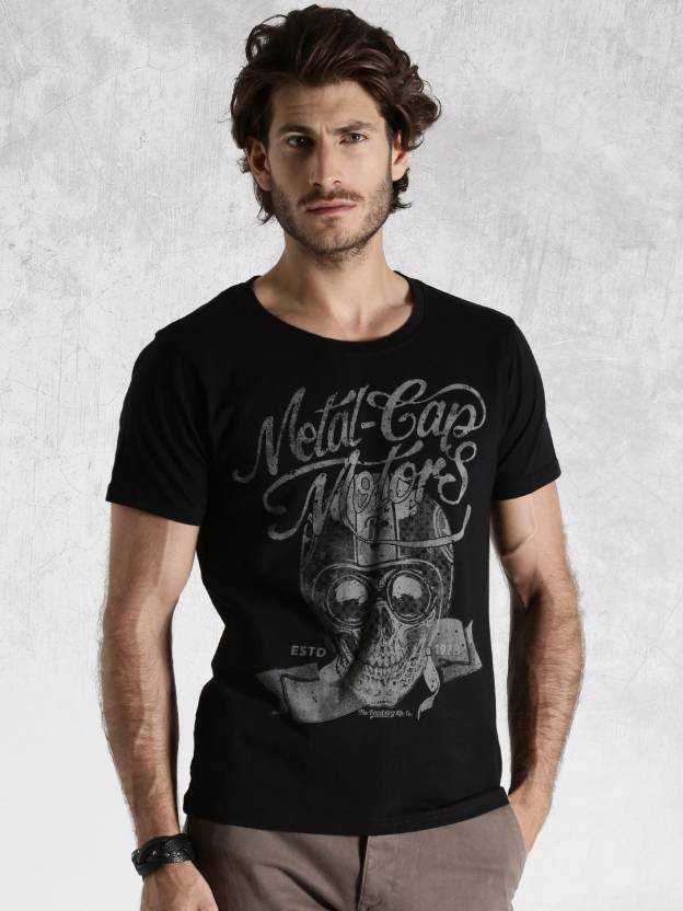 f67a3b4cf09f Roadster Graphic Print Men's Round Neck Black T-Shirt - Buy Black Roadster  Graphic Print Men's Round Neck Black T-Shirt Online at Best Prices in India  ...