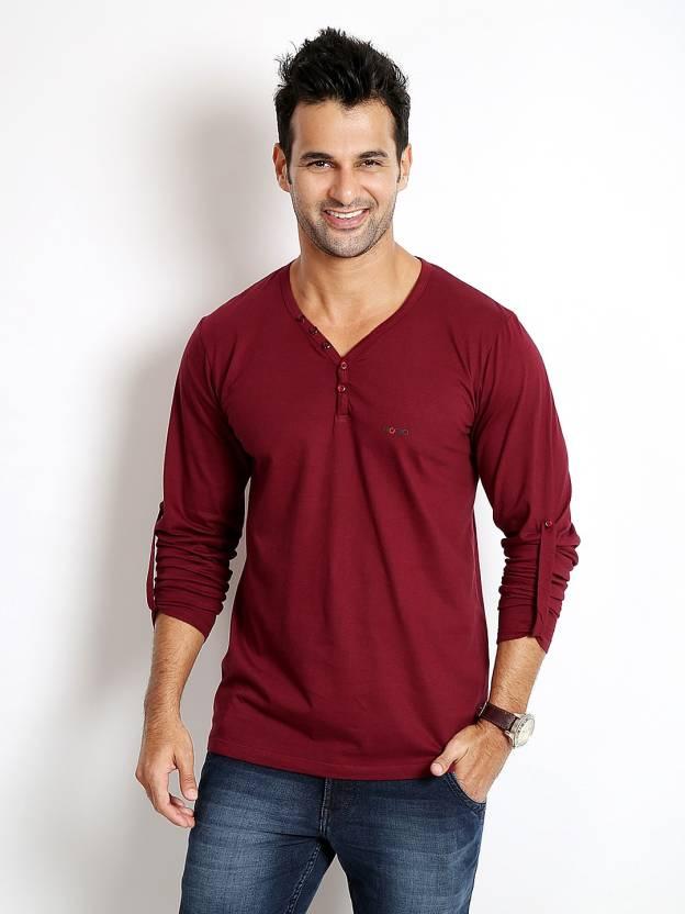 Rodid Solid Mens V-neck Maroon T-Shirt