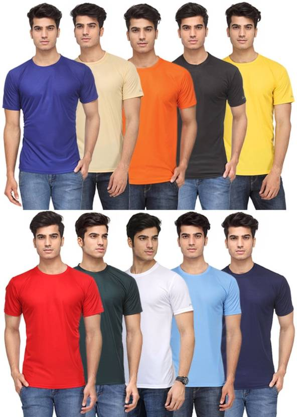 9b7a796a3c0 Rico Sordi Solid Men s Round Neck Multicolor T-Shirt (Pack of 10)