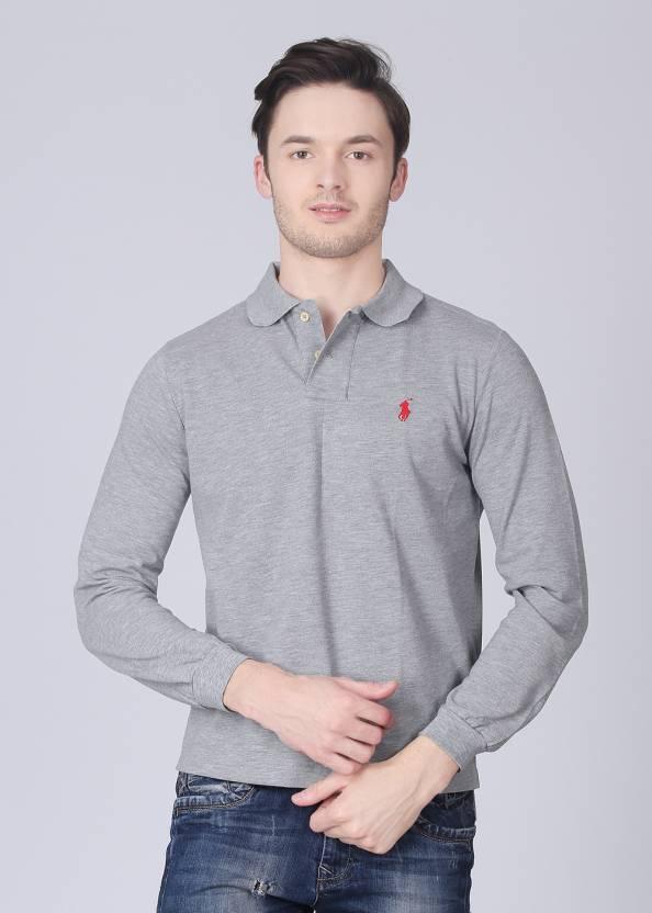 Polo Ralph Lauren Solid Men's Polo Neck Grey T-Shirt