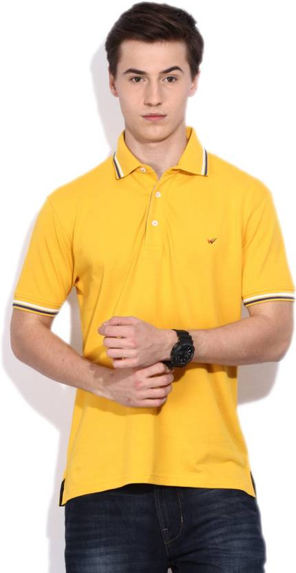 0685c0424 Wills Lifestyle Solid Men's Polo Neck Yellow T-Shirt - Buy Sunset Gold Wills  Lifestyle Solid Men's Polo Neck Yellow T-Shirt Online at Best Prices in  India ...