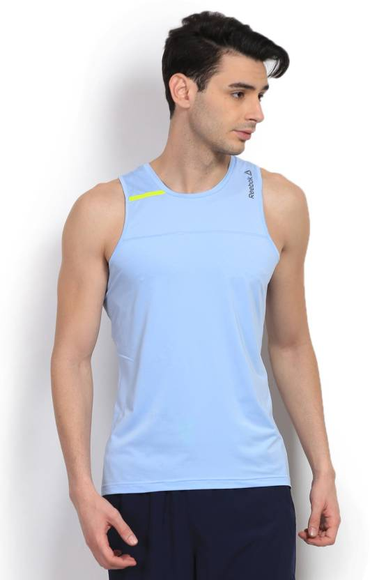 d1c1ae0d675ed6 REEBOK Solid Men s Round Neck Blue T-Shirt - Buy Denglo REEBOK Solid Men s  Round Neck Blue T-Shirt Online at Best Prices in India