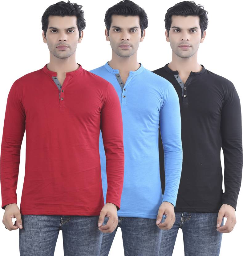 OK Jaanu!! Get Tara & Adi's Looks On The Exclusive Store By Flipkart | Maniac Solid Men's Henley Red, Blue, Black T-Shirt  (Pack of 3) @ Rs.791