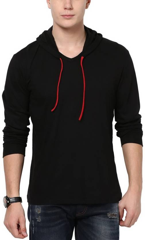 Elepants Solid Mens Hooded Black T-Shirt