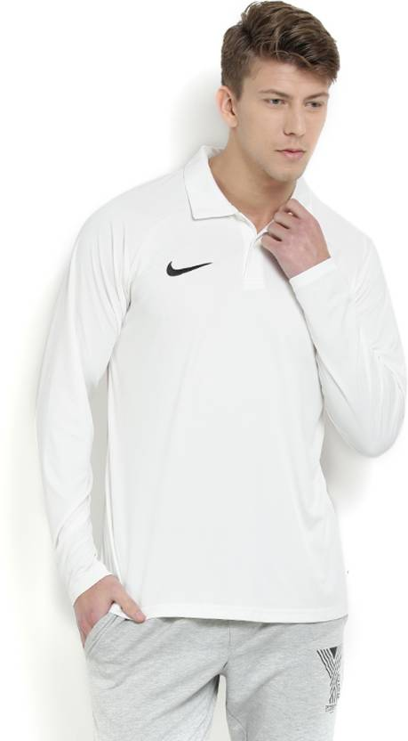 2b5ec1b0 Nike Solid Men's Polo Neck White T-Shirt - Buy SAIL/BLACK Nike Solid ...
