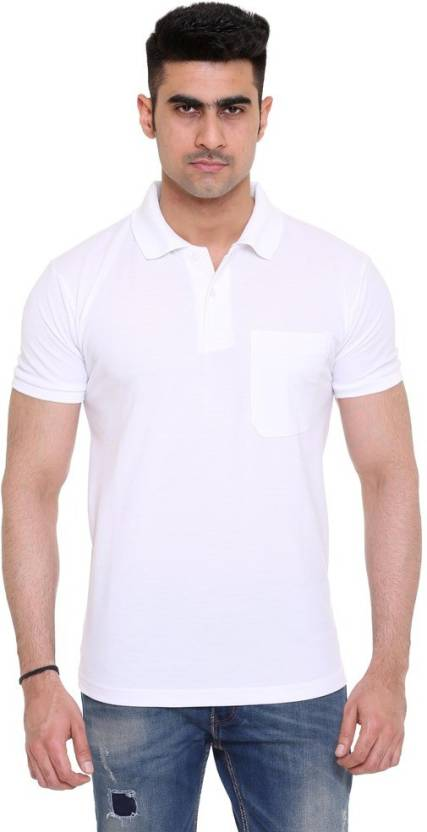 6bfa7e9a8378 Colors & Blends Solid Men's Polo Neck White T-Shirt - Buy White ...