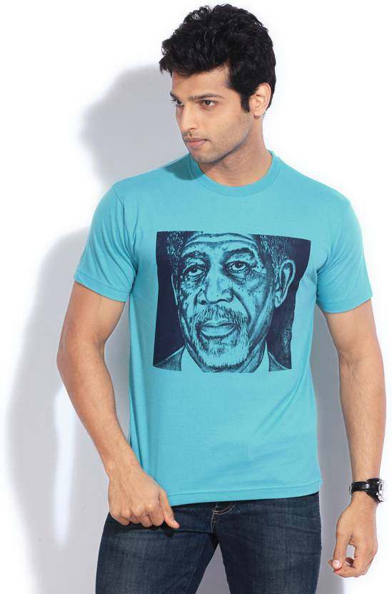 Le Bison Printed Men's Round Neck Light Blue T-Shirt
