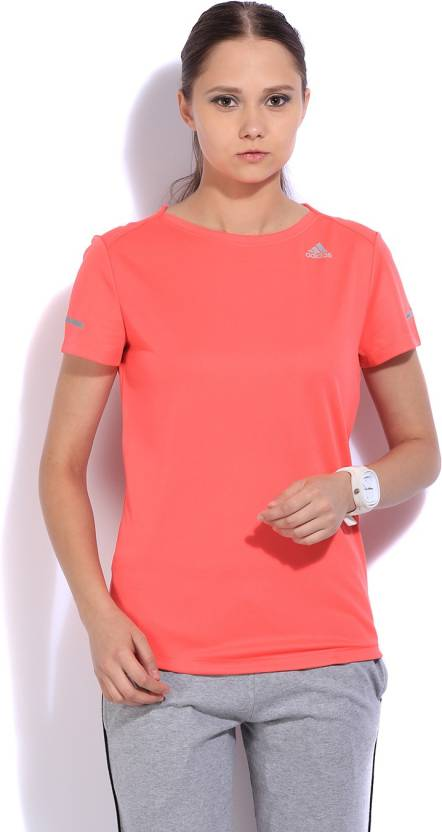 ADIDAS Solid Women s Round Neck Pink T-Shirt - Buy Red ADIDAS Solid Women s  Round Neck Pink T-Shirt Online at Best Prices in India  23e9df030