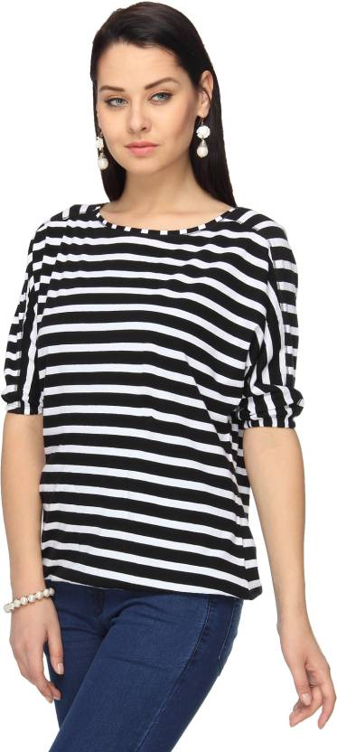 89af6724012 Max Striped Women s Round Neck Black