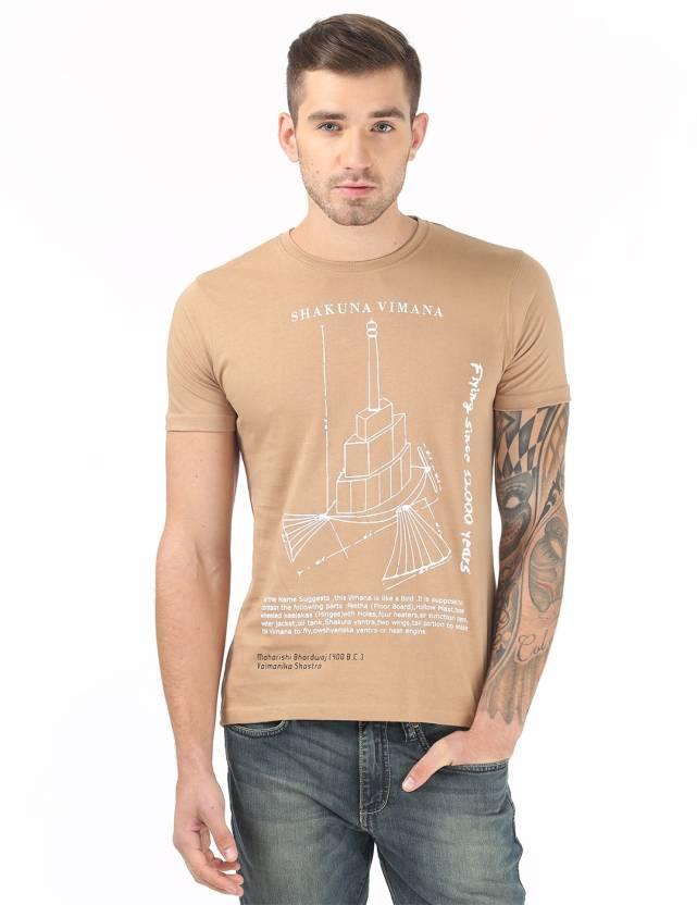 Vimanika Graphic Print Men's Round Neck Beige T-Shirt