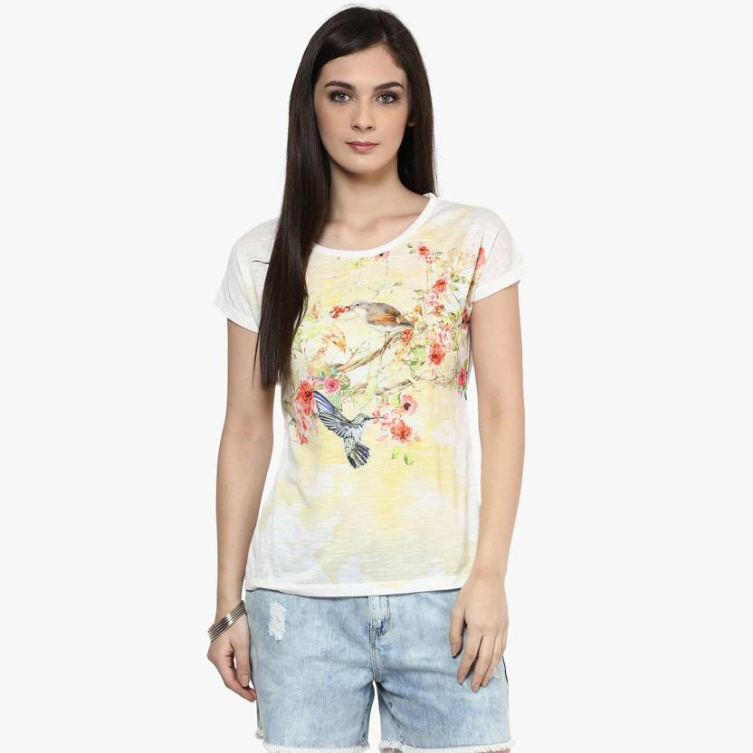 a3ef94d9a32c98 Honey By Pantaloons Printed Women's Round Neck White T-Shirt - Buy White  Honey By Pantaloons Printed Women's Round Neck White T-Shirt Online at Best  Prices ...