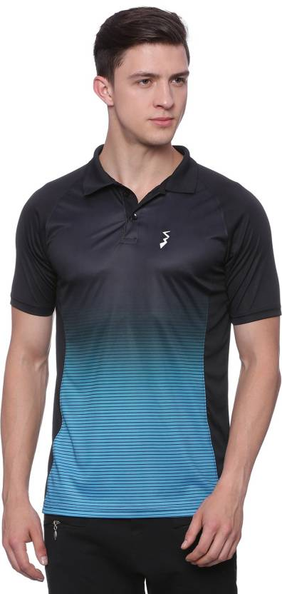 Campus Sutra Printed Men Polo Neck Blue, Black T-Shirt