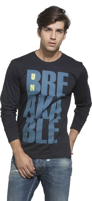 Alan Jones Printed Mens Round Neck Black T-Shirt