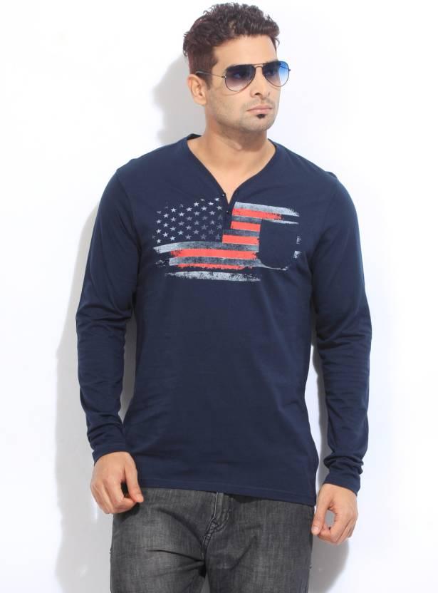 9bde78c69c22 Freecultr Printed Men's Henley Dark Blue T-Shirt - Buy Dark Blue ...