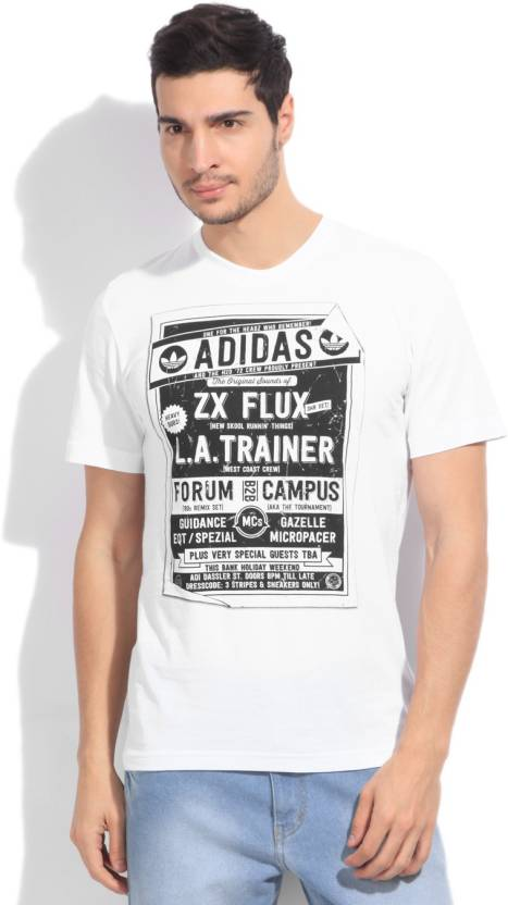 ab596bd22584 ADIDAS Printed Men s Round Neck White T-Shirt - Buy WHITE ADIDAS Printed  Men s Round Neck White T-Shirt Online at Best Prices in India