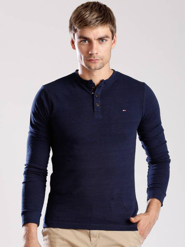f6f07874 Tommy Hilfiger Solid Men's Henley Dark Blue T-Shirt - Buy Dark Blue Tommy  Hilfiger Solid Men's Henley Dark Blue T-Shirt Online at Best Prices in  India ...