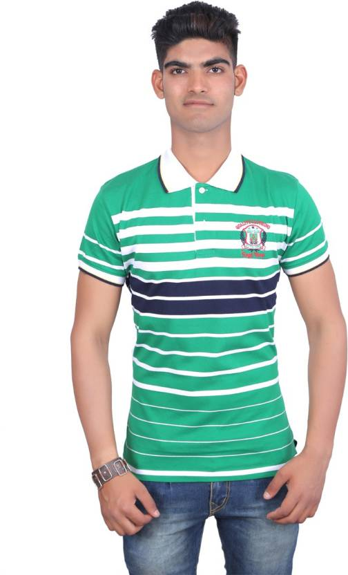 853aa5f9 Duke Stardust Striped Men's Polo Neck Light Green T-Shirt - Buy ...