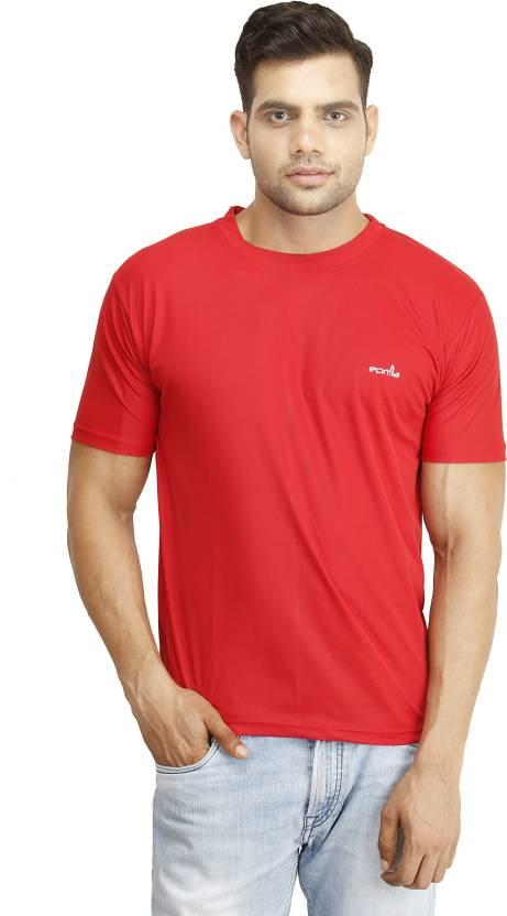 Eprilla Solid Men's Round Neck Red T-Shirt