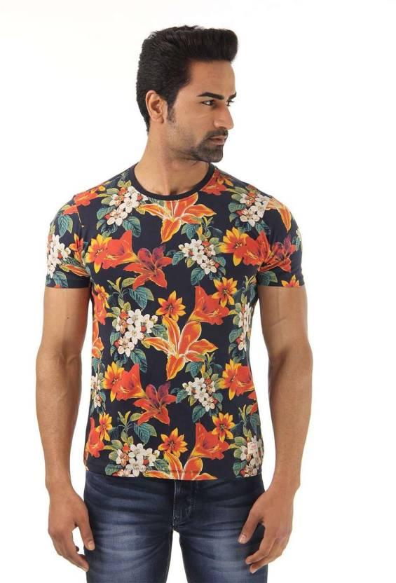 d01609ae36f Flying Machine Floral Print Men s Round Neck Dark Blue T-Shirt - Buy Navy  Flying Machine Floral Print Men s Round Neck Dark Blue T-Shirt Online at  Best ...