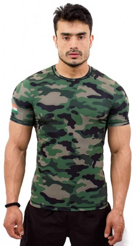 caedd66ae ... Dark Green T-Shirt - Buy Army Green Core Athletics Military Camouflage  Men's Round Neck Dark Green T-Shirt Online at Best Prices in India |  Flipkart.com