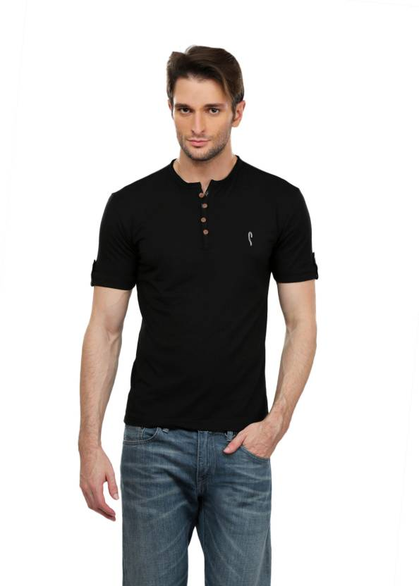 474454ca0c9 Stride Solid Men s Round Neck Black T-Shirt - Buy Black Stride Solid Men s  Round Neck Black T-Shirt Online at Best Prices in India