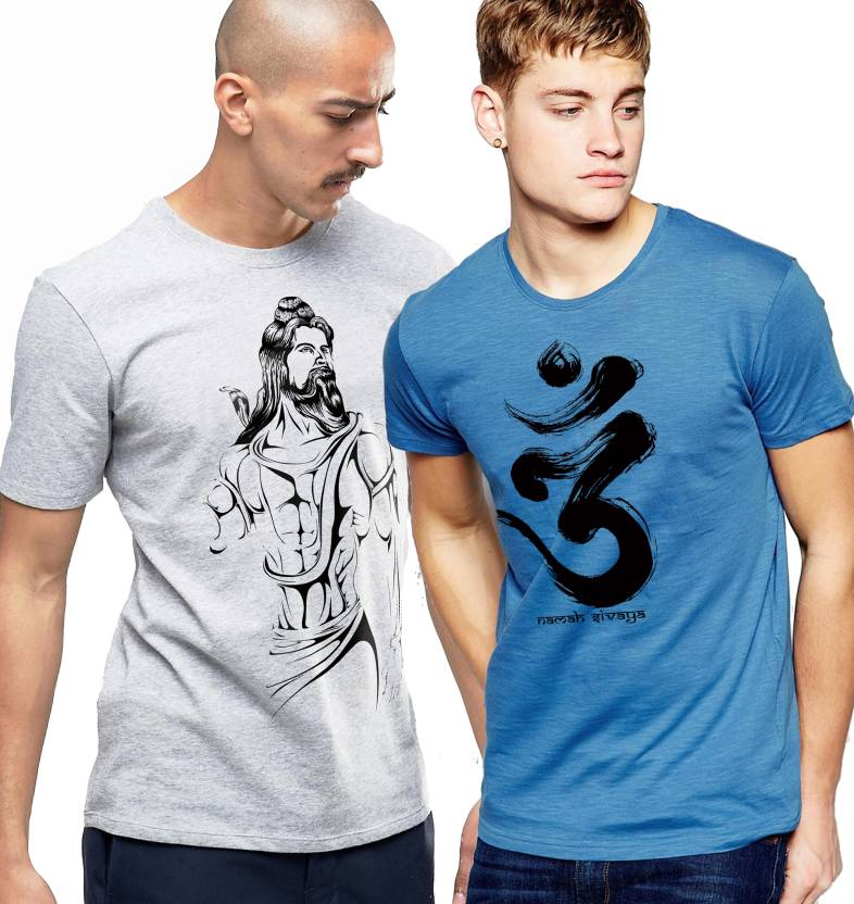 Young Trendz Printed Mens Round Neck Multicolor T-Shirt  (Pack of 2)