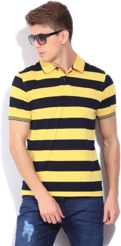 Peter England Striped Men's Polo Neck Yellow T-Shirt