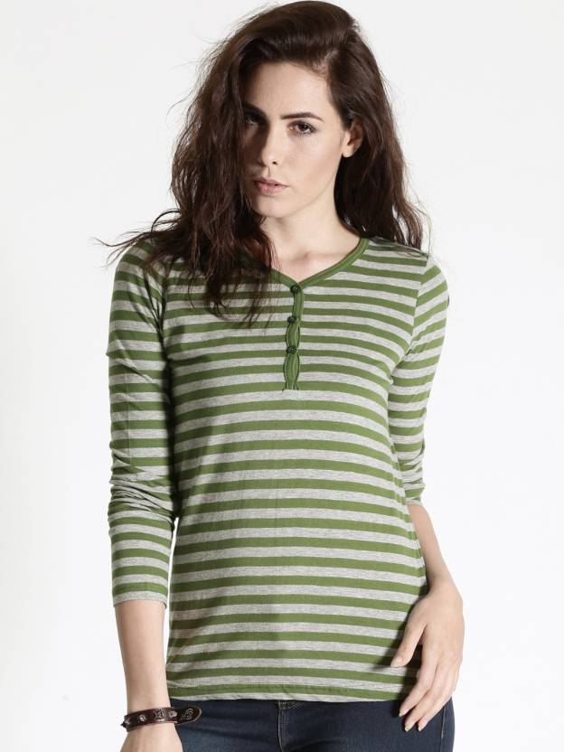 Roadster Striped Women s V-neck Dark Green T-Shirt - Buy Dark Green  Roadster Striped Women s V-neck Dark Green T-Shirt Online at Best Prices in  India ... 7af6dae0d