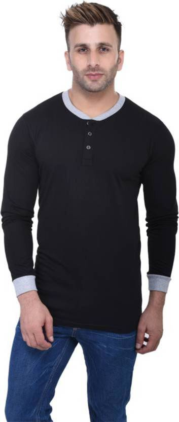 FastColors Solid Mens Round Neck Black, Grey T-Shirt