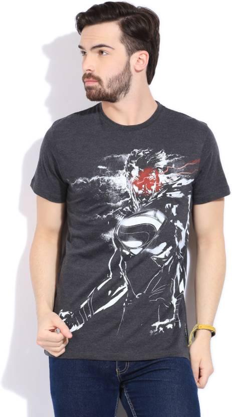 DC Comics Printed Men's Round Neck Grey T-Shirt