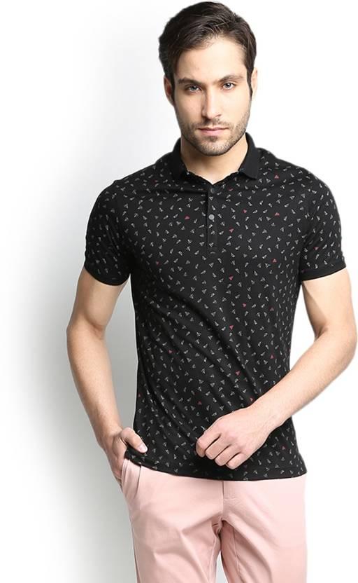 Blackberrys Printed Men's Polo Neck Black T-Shirt