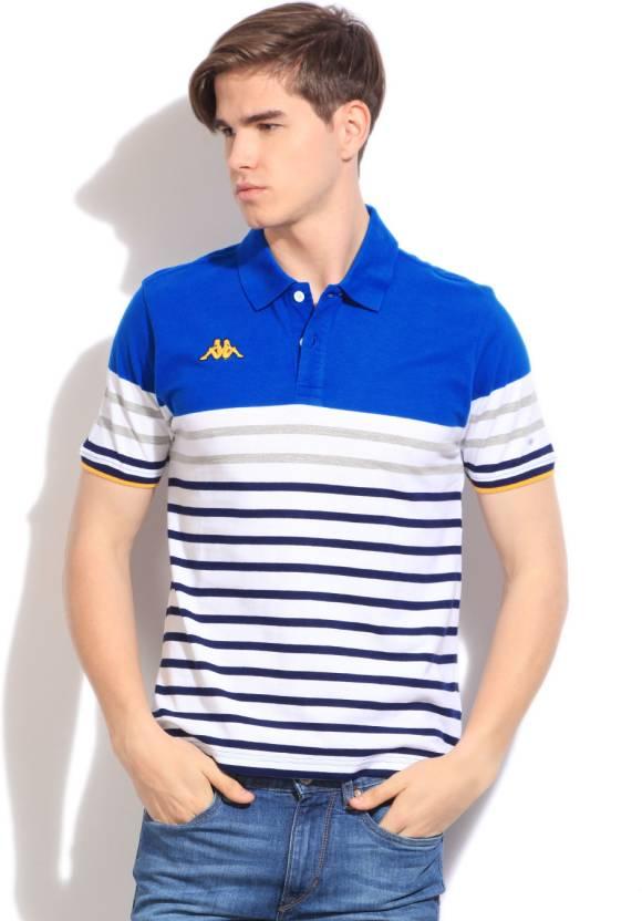 dc426827cb3 Kappa Striped Men's Polo Neck White, Blue T-Shirt - Buy WHITE Kappa Striped  Men's Polo Neck White, Blue T-Shirt Online at Best Prices in India |  Flipkart. ...