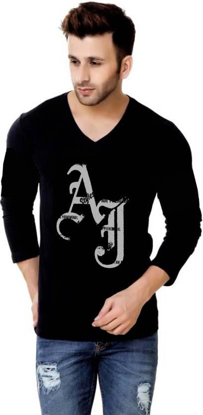 WWE Printed Men s V-neck Black T-Shirt - Buy black WWE Printed Men s V-neck Black  T-Shirt Online at Best Prices in India  af87266ceda4