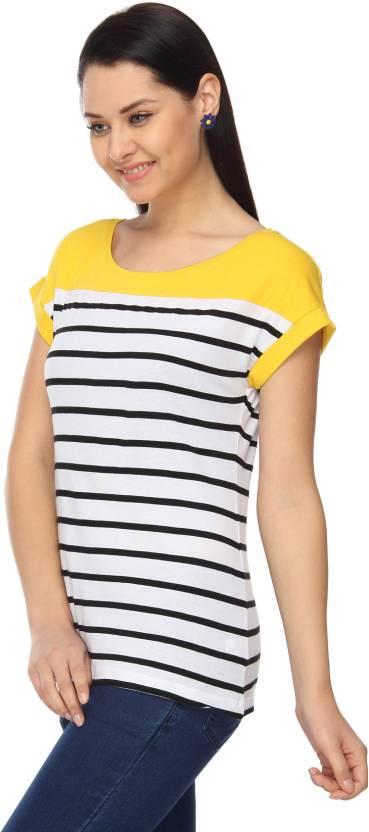 f3f261f06c5 Max Striped Women's Round Neck Yellow, White, Black T-Shirt - Buy ...