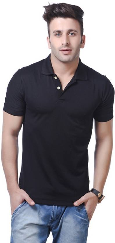 Double F Solid Men's Polo Neck Black T-Shirt By Flipkart @ Rs.348