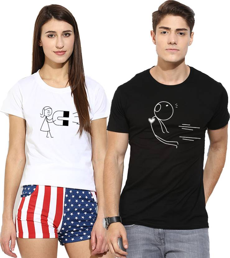 Young trendz printed men women round neck multicolor t for Buy couple t shirts online india