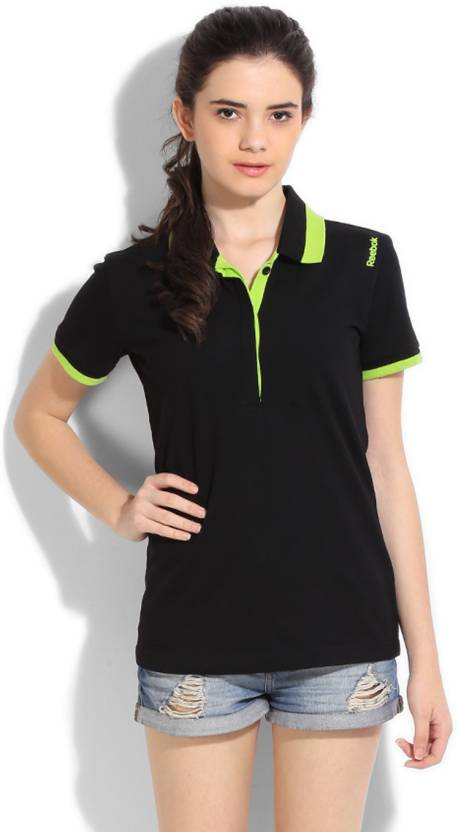 a1503b7e130 REEBOK Solid Women's Polo Neck Green, Black T-Shirt - Buy BLACK REEBOK  Solid Women's Polo Neck Green, Black T-Shirt Online at Best Prices in India  ...