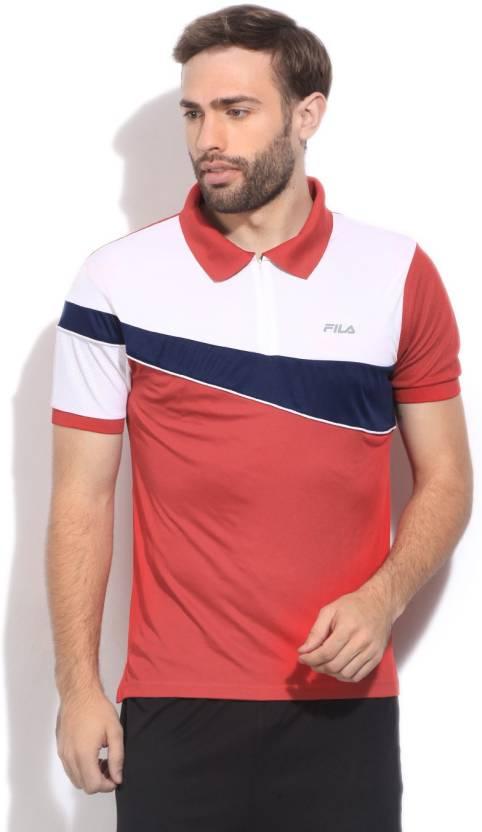 f12cad6997 Fila Striped Men's Polo Neck White, Dark Blue, Red T-Shirt - Buy CHN RD Fila  Striped Men's Polo Neck White, Dark Blue, Red T-Shirt Online at Best Prices  in ...