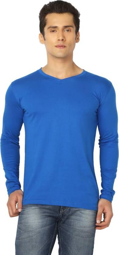 af34e9f04 Joke Tees Solid Men's V-neck Blue T-Shirt - Buy Royal Blue Joke Tees ...