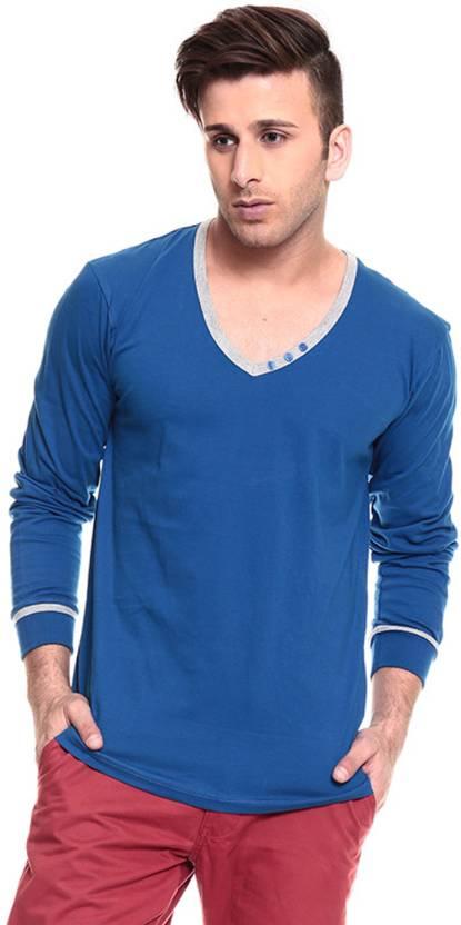 022a4bcb4 Izinc Solid Men's V-neck Blue T-Shirt - Buy Royal Blue Izinc Solid Men's V-neck  Blue T-Shirt Online at Best Prices in India   Flipkart.com