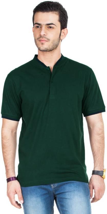 Concepts Solid Men's Polo Neck Dark Green T-Shirt