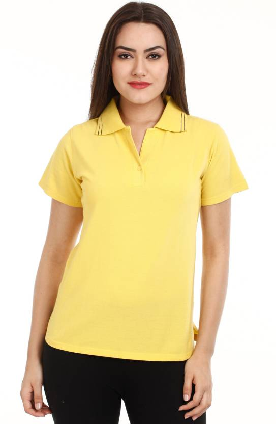 Mustard Solid Women s Polo Neck Yellow T-Shirt - Buy Yellow Mustard Solid Women s  Polo Neck Yellow T-Shirt Online at Best Prices in India  8c2719404
